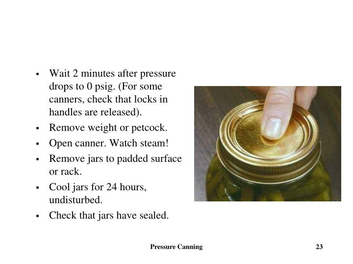 Wait 2 minutes after pressure drops to 0 psig. (For some canners, check that locks in handles are released).