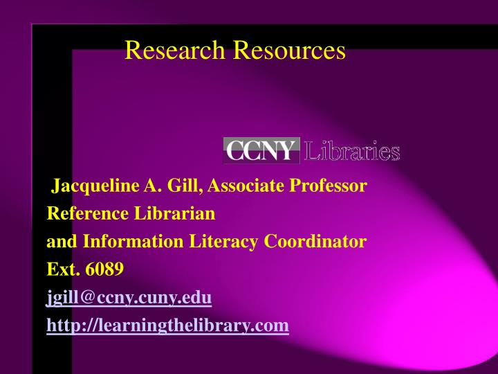 research resources n.