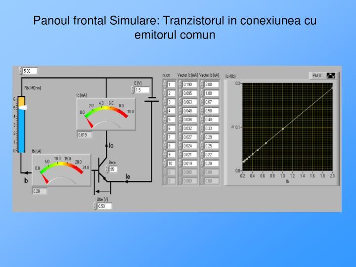 Panoul frontal Simulare: Tranzistorul in conexiunea cu emitorul comun