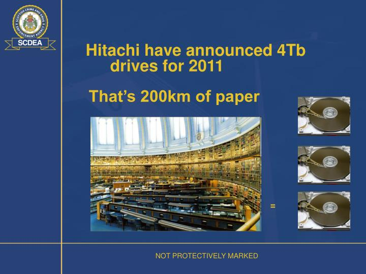 Hitachi have announced 4Tb drives for 2011