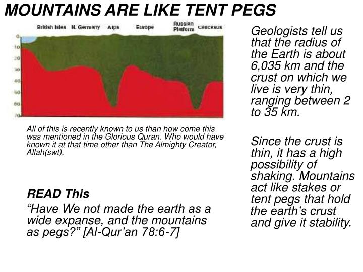 MOUNTAINS ARE LIKE TENT PEGS