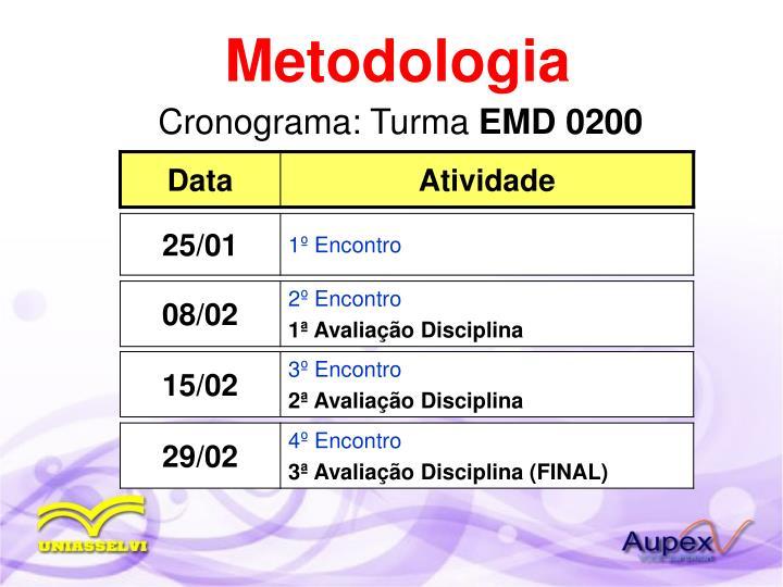 Cronograma turma emd 0200