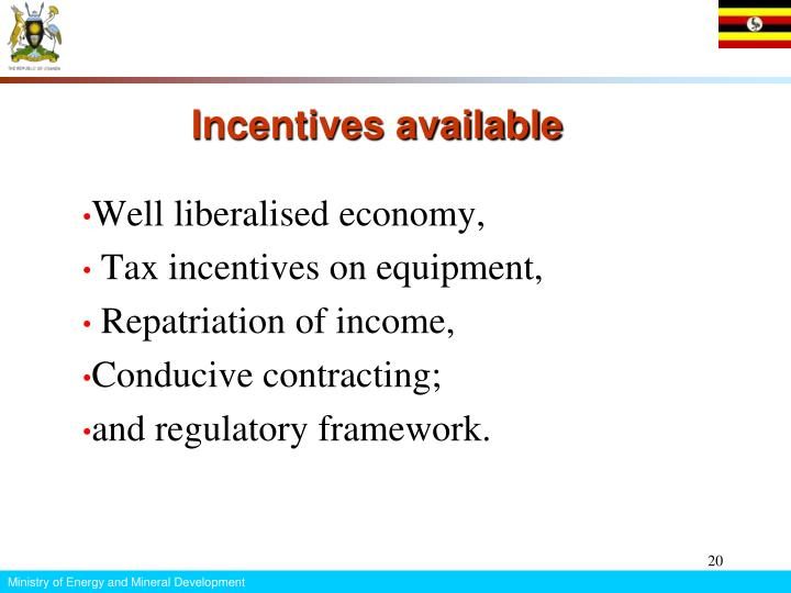 Incentives available