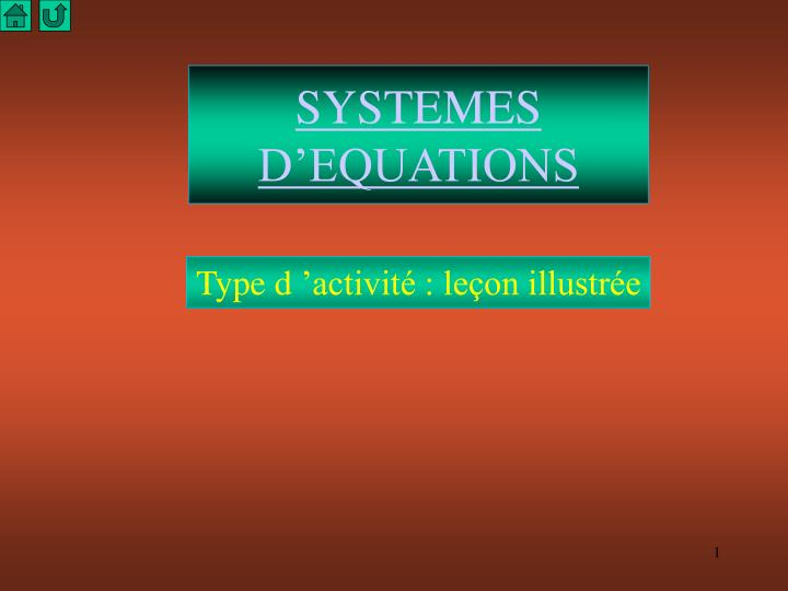 Systemes d equations