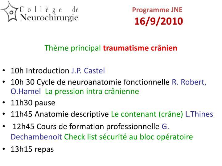 Programme jne 16 9 2010