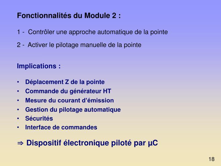 Fonctionnalités du Module 2 :