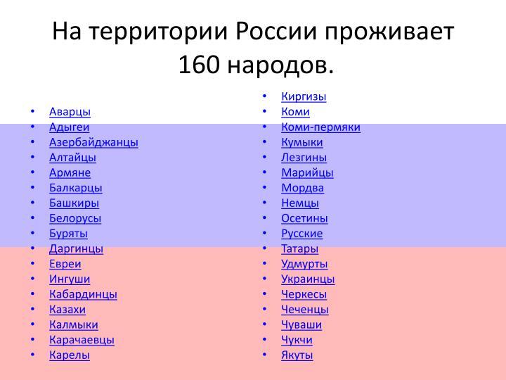 На территории России проживает