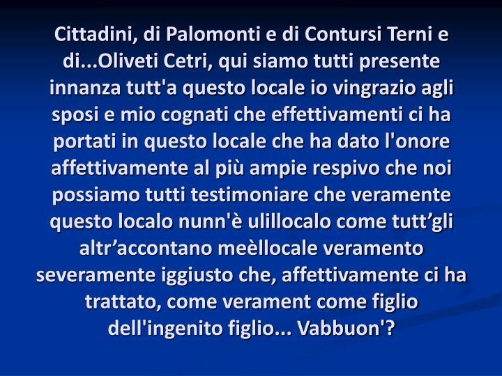 Cittadini, di Palomonti e di Contursi Terni e di...Oliveti Cetri, qui siamo tutti presente innanza t...