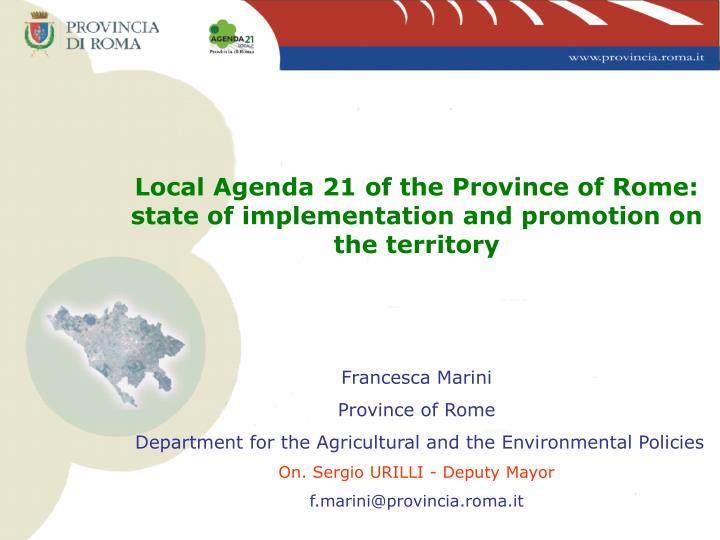 Local Agenda 21 of the Province of Rome: state of implementation and promotion on the territory
