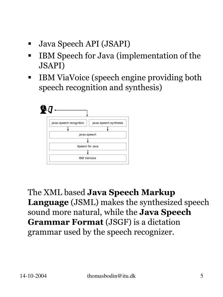 Java Speech API (JSAPI)