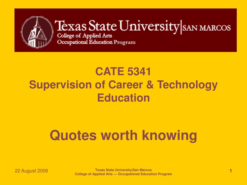 Ppt Cate 5341 Supervision Of Career Technology Education Powerpoint Presentation Id 5221611