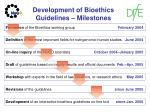 development of bioethics guidelines milestones