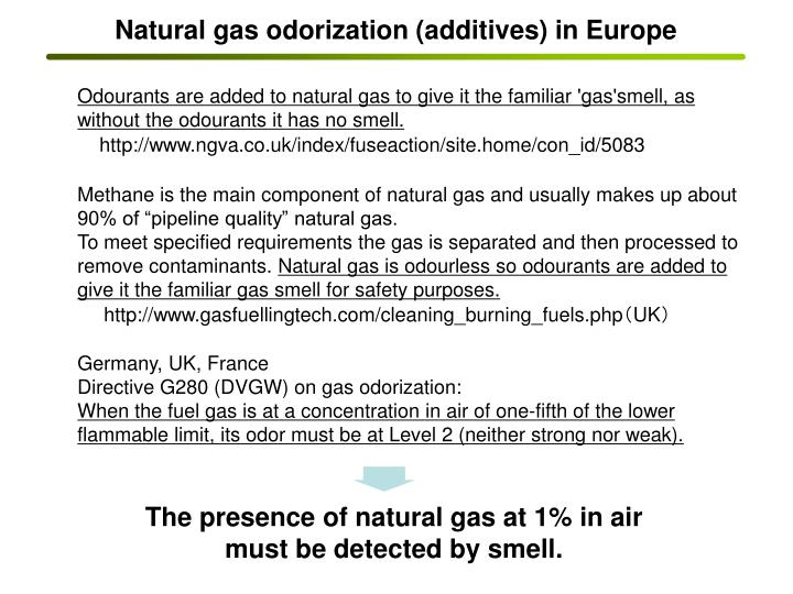 Natural gas odorization (additives) in Europe