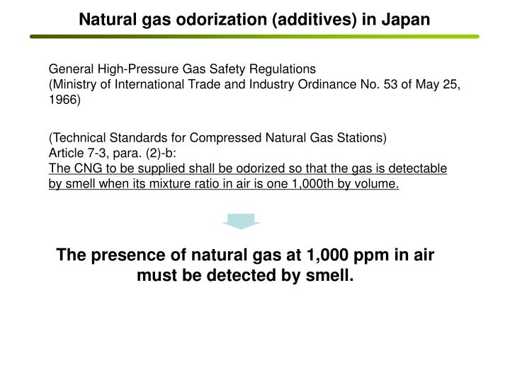 Natural gas odorization (additives) in Japan
