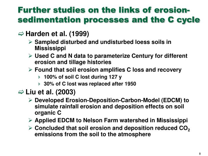 Further studies on the links of erosion-sedimentation processes and the C cycle