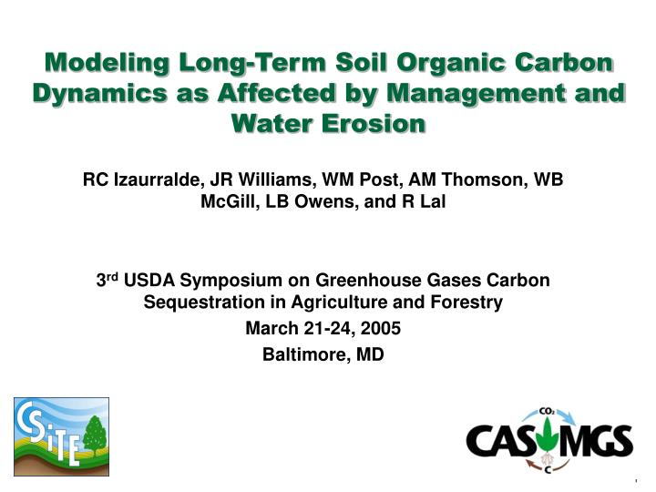 Modeling long term soil organic carbon dynamics as affected by management and water erosion