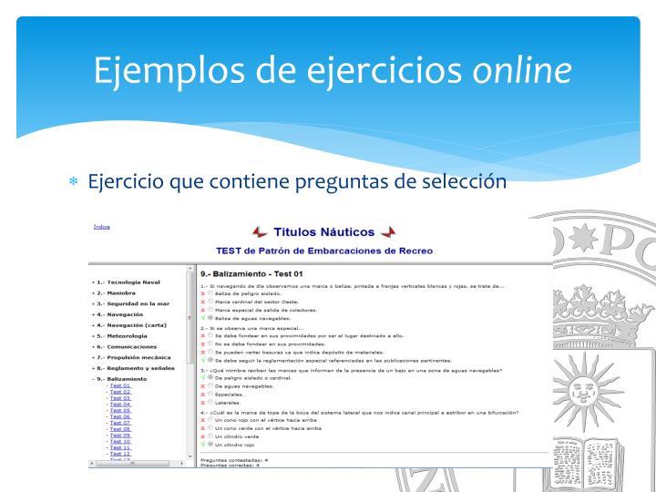 Ejemplos de ejercicios