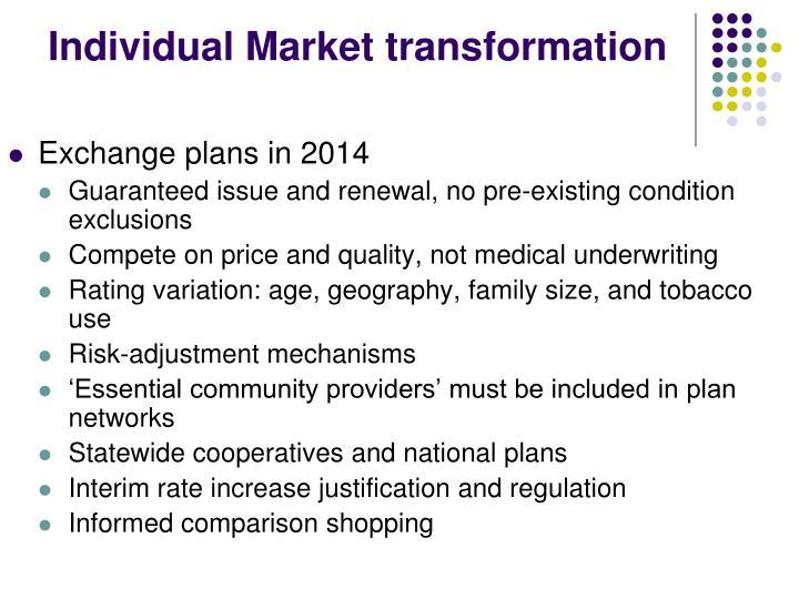 Individual Market transformation