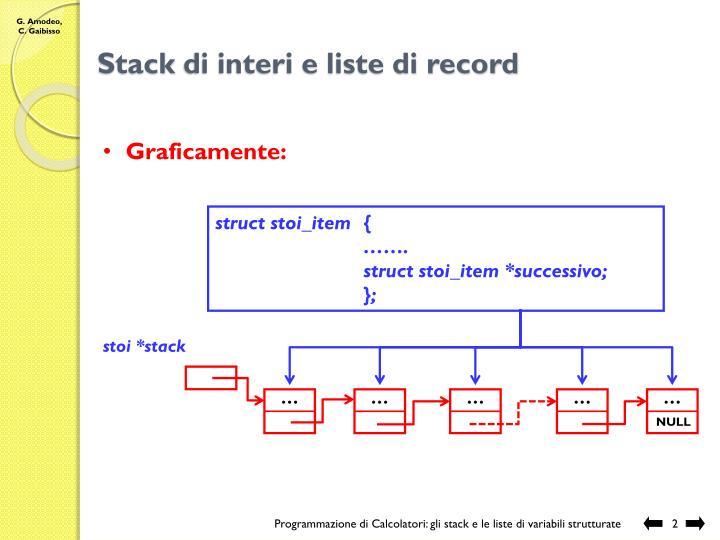 Stack di interi e liste di record
