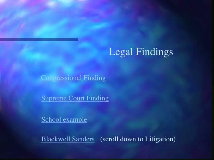 Legal Findings