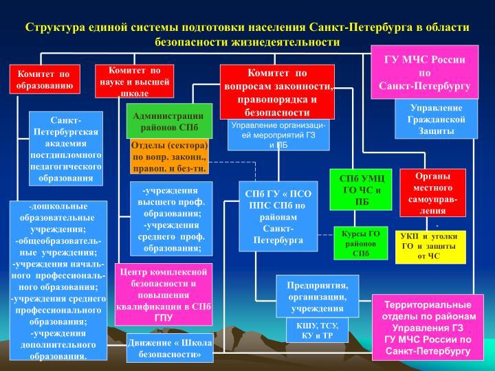 Структура единой системы подготовки населения Санкт-Петербурга в области безопасности жизнедеятельности