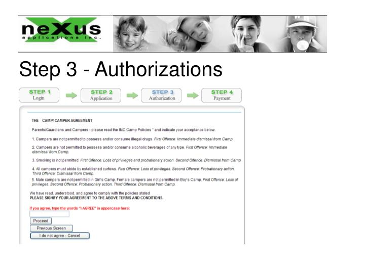Step 3 - Authorizations