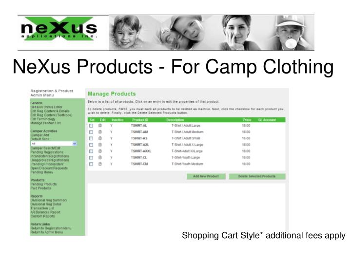 NeXus Products - For Camp Clothing