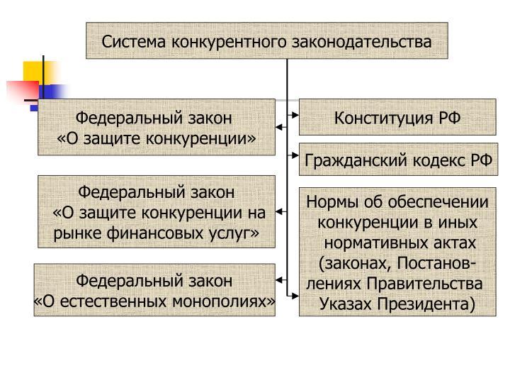 Система конкурентного законодательства