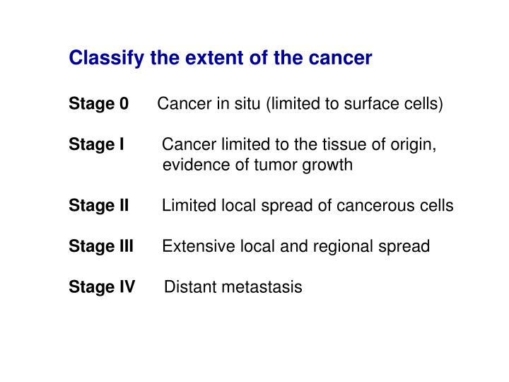 Classify the extent of the cancer