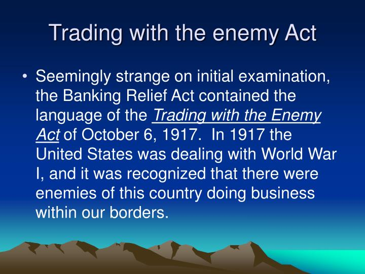 Trading with the enemy Act