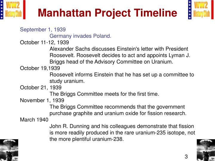 the manhattan project timeline Learn about the development of the atomic bomb with this detailed timeline of the top secret manhattan project that was created in 1941.