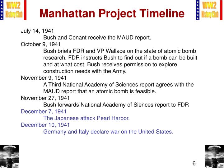 the manhattan project timeline