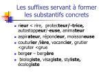 les suffixes servant former les substantifs concrets