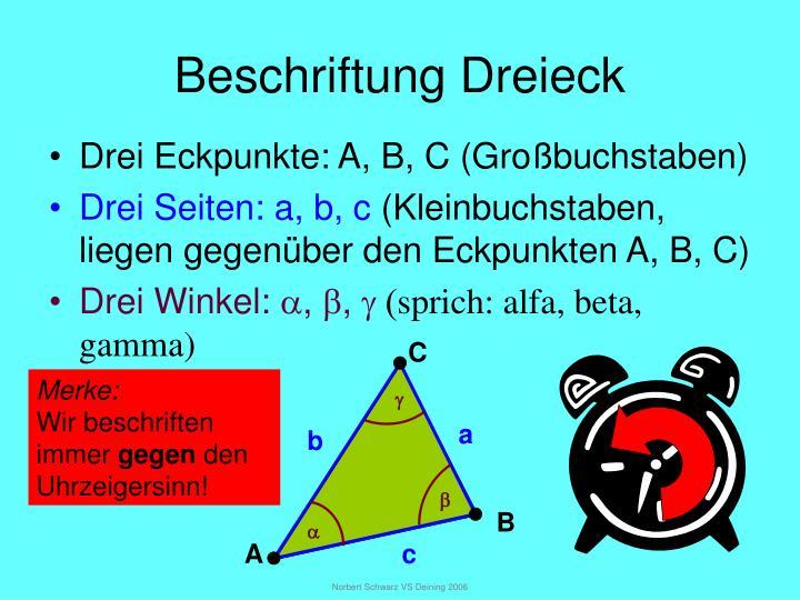 Beschriftung dreieck