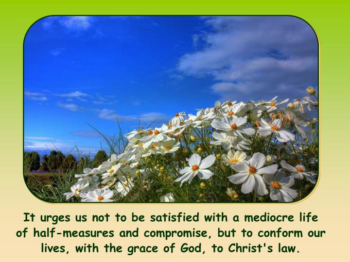 It urges us not to be satisfied with a mediocre life of half-measures and compromise, but to conform our lives, with the grace of God, to Christ's law.