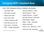 hotspots wifi installed base