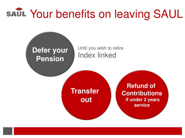 Your benefits on leaving SAUL