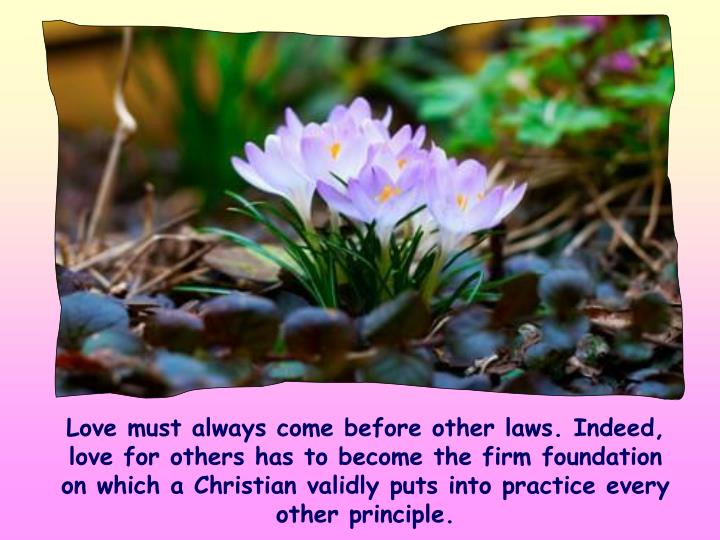 Love must always come before other laws. Indeed, love for others has to become the firm foundation on which a Christian validly puts into practice every other principle.