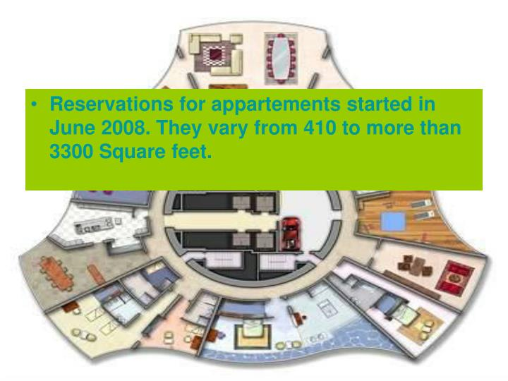 Reservations for appartements started in June 2008. They vary from 410 to more than  3300 Square feet.
