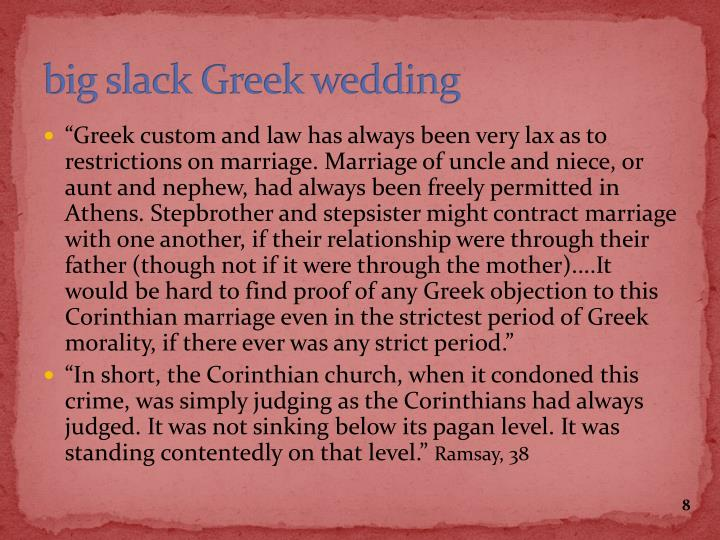 big slack Greek wedding