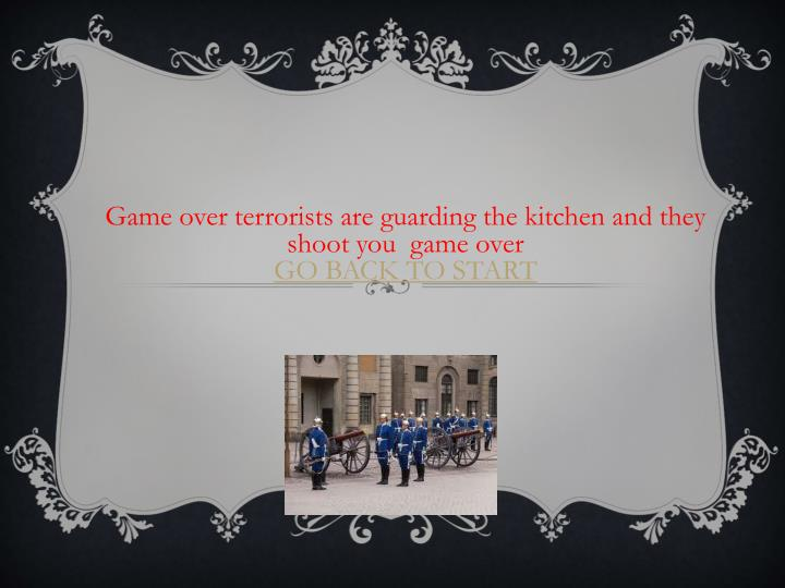 Game over terrorists are guarding the kitchen and they shoot you  game over