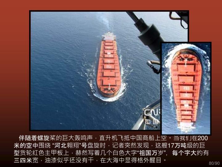 伴随着螺旋桨的巨大轰鸣声,直升机飞抵中国商船上空。当我们在