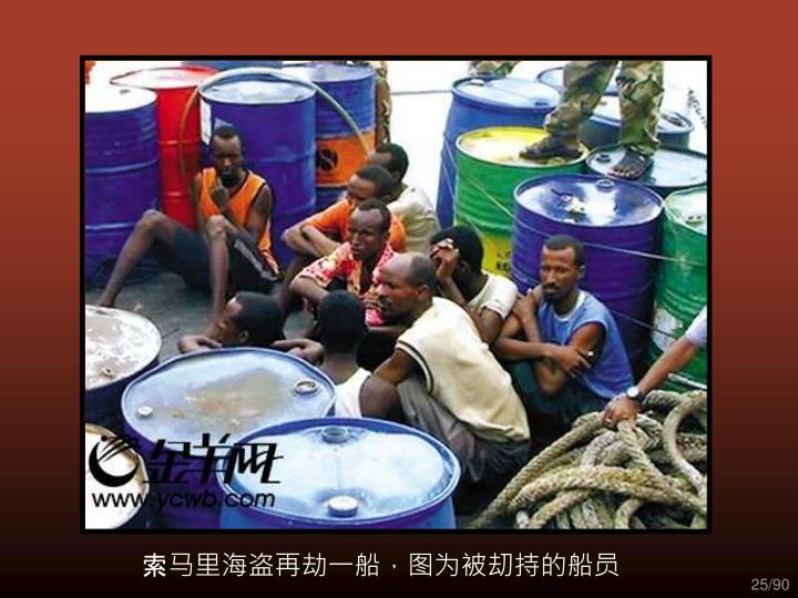 索马里海盗再劫一船,图为被刧持的船员