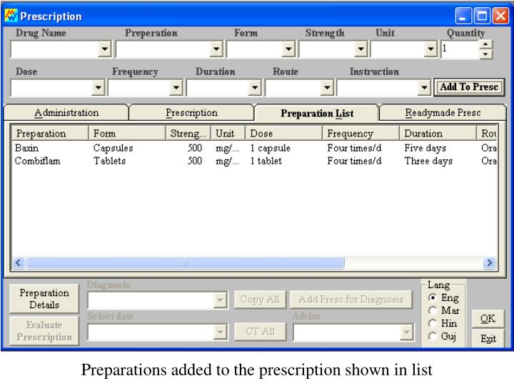 Preparations added to the prescription shown in list