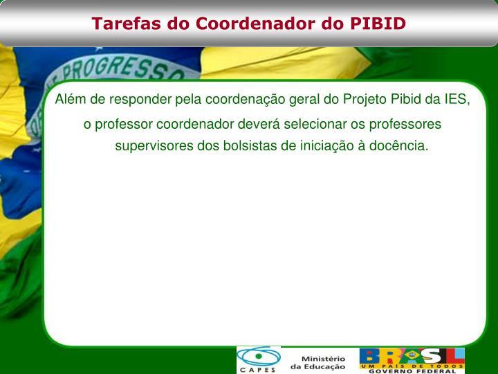 Tarefas do Coordenador do PIBID