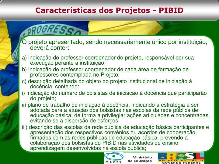 Características dos Projetos - PIBID