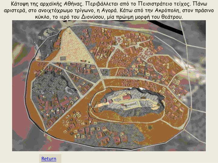 Κάτοψη της αρχαϊκής Αθήνας. Περιβάλλεται από το