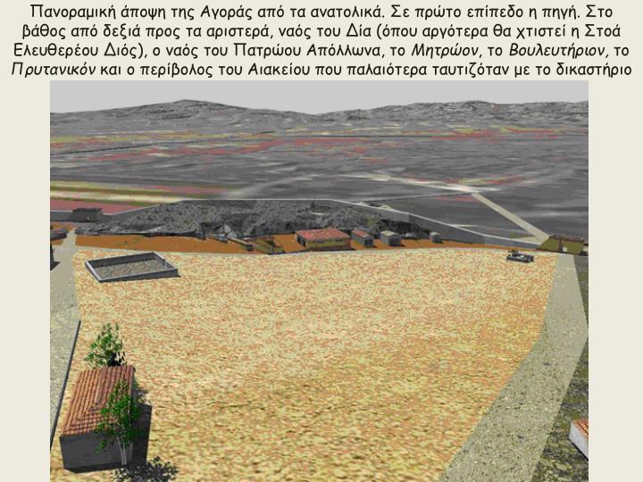 Πανοραμική άποψη της Αγοράς από τα ανατολικά. Σε πρώτο επίπεδο η πηγή. Στο βάθος από δεξιά προς τα αριστερά, ναός του Δία (όπου αργότερα θα χτιστεί η Στοά