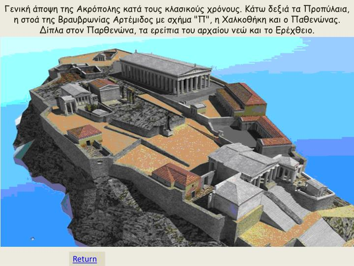 Γενική άποψη της Ακρόπολης κατά τους κλασικούς χρόνους. Κάτω δεξιά τα Προπύλαια, η στοά της
