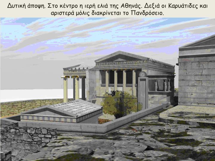 Δυτική άποψη. Στο κέντρο η ιερή ελιά της Αθηνάς. Δεξιά οι Καρυάτιδες και αριστερά μόλις διακρίνεται το